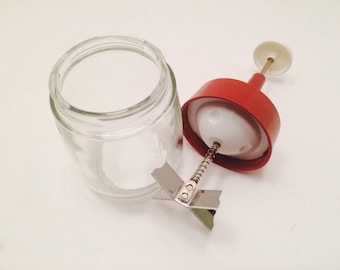 Vintage Kitchen Chopper, Nut Chopper, Clear Glass with Red Top and White Handle,  Gemco #16