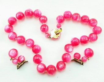 Hot Pink Vintage Moon glow Necklace and Earring Set -210V