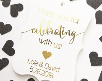 Thank You For Celebrating With Us Favor Tags, Custom Favor Tags, Thank You Custom Wedding Hang Tags (EC-362-F)