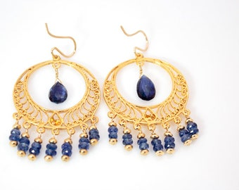 High quality blue kyanite chandelier earrings with 14k gold plated silver chandeliers and gold filled ear wires.