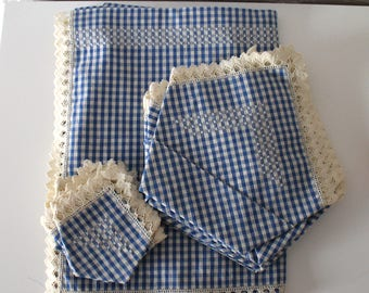 Vintage Cotton Tablecloth with Napkins - Handmade Hand embroidery - Blue Gingham - New Never used - 50s