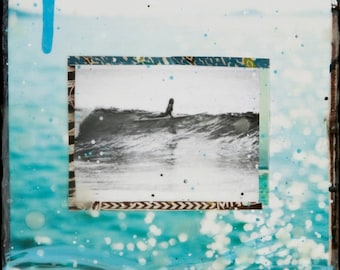 SHE SLIDES, Best Seller, 8x10, 11x14, 16x20, Hand Signed Mated Print, ocean, turquoise, surfing, black and white, female surfer