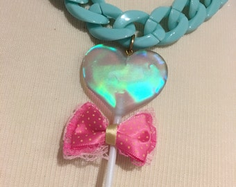 Holographic Heart Lollipop Bow Heavy Chain Statement Necklace