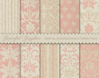 Scrapbook Paper Pack Digital Scrapbooking Background Papers 10 Sheets 8.5 x 11  ANTIQUE French Country Pink TEXTURED DAMASK 1845gg