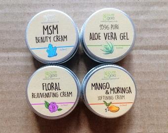 4 x 10ml Pocket Moisturisers - Floral Rejuvenating Cream, Aloe Vera Gel, MSM Beauty Cream and Mango and Moringa Cream