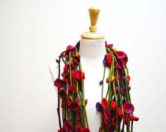 Felt Flowers /Assorted Felt Flowers /  Felt Flower Scarf / Felt Flower Necklace