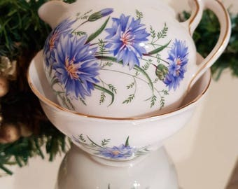 Stunning Royal Vale bone china creamer/milk jug and sugar bowl/pretty blue flowers/Christmas gift/ships worldwide from UK