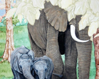 Mama and Baby Elephants Print