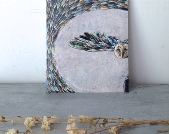 Moonlit Feathers, blank post card, owl, full moon, blue, flying wings, glossy finish 5 x 7