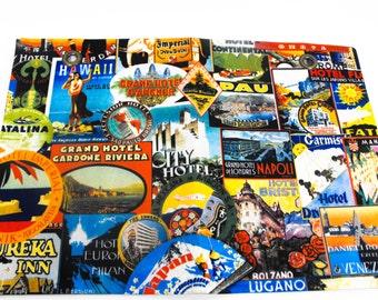 Vintage Travel Placemat -  Mid Century Travel Placemat, Retro Travel Decor, Kitchen Decor