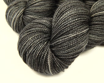 Hand Dyed Yarn, Sock Weight Superwash Merino Wool Silk Yarn - Slate Grey Tonal - Indie Fingering Sock Knitting Yarn, Dark Charcoal Gray