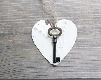Large Key . Key to My Heart - rustic wedding decor . tin ceiling tile . rustic tin . tin heart . white heart . shabby chic art