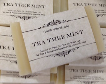 Tea Tree Mint Natural Homemade Soap, Handmade soap, Natural Soap, Cold Process Lye Soap