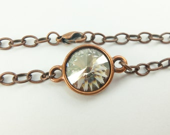 Copper Bracelet Smoky Silver Antiqued Chain Bracelet Copper Jewelry