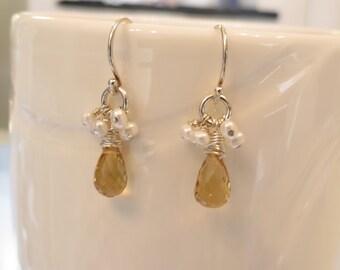 Citrine Freshwater Pearl Earrings, Gemstone Earrings, November Birthstone, Bridal Earrings, Yellow Gemstone, Something Yellow
