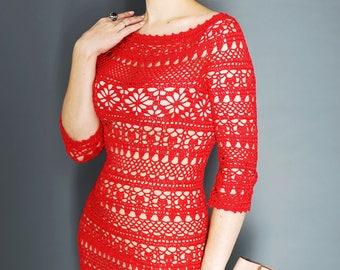 """Crochet lace dress for women """"Dolce"""" DETAILED TUTORIAL (PDF pattern) instant download, written instructions, schematical charts, summer gown"""