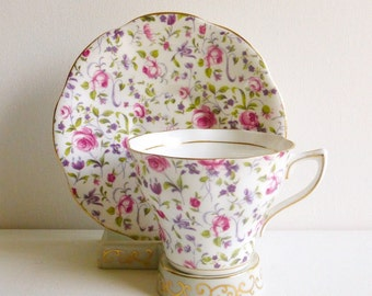 Vintage Rosina #5040 Chintz Teacup & Saucer, Pink Purple Green, Bone China, England. Perfect for a Vintage Tea Party, Gift or Styling Prop.