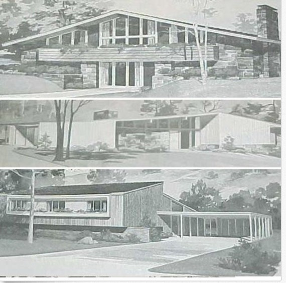 Mid Century Modern Home Designs: 185 Homes MID CENTURY Modern House Plans Ranch Atomic Mod