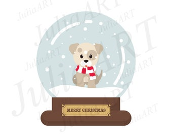 cartoon cute christmas with winter dog snowglobe on a white background
