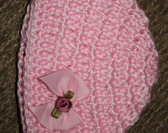 Pink crochet with pink bow and flower