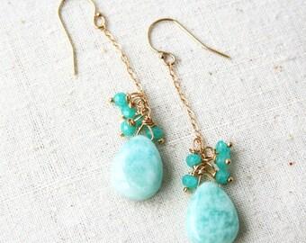 Green Earrings, Pastel Earrings, Seafoam Green, Amazonite Earrings