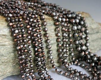 """3.2mm COPPER Ball Chain, Ancient Relic PATINA , Hand Applied Patina, by the Inch, 6"""" to 72"""""""