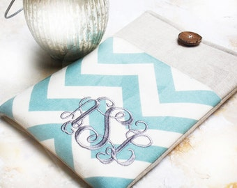 Monogrammed Kindle Sleeve, Personalized Nook Cover, Ereader Case, Gadget Cases and Covers, Ereader Accessories in Blue Chevron and Linen