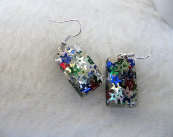 Patriotic Earrings Handmade Hand Cast Resin Earrings with Red White Blue and Green Star Confetti Simple Resin Rectangle Drop Earrings
