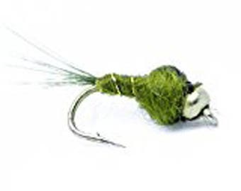 Bead Head Olive Nymph Fly Fishing Trout Flies - One Dozen Wet Flies - SIZE 12 Great for Trout and Sold by Feeder Creek