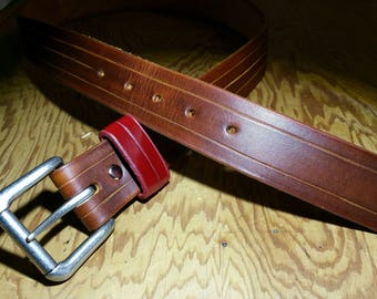 Custom/Handmade Mens Leather Casual Belt Brown Size 36 Made in USA