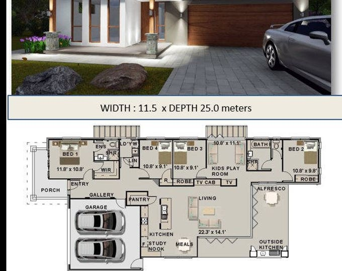 228 m2 |4 Bedrooms plus study | House Plan Ranch Style  |   4 bed home plans  | 4 bedroom design | 4 bedroom plans | new modern house plans