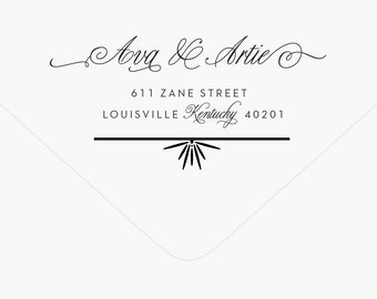 Return Address Stamp Calligraphy - Personalized Stamp - Wedding Stamp - Preppy Deco - Rubber Stamp - Brooks No. 1