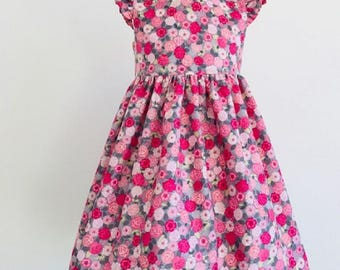 Grace, dresses, girls dresses, party dresses, girls clothing, baby girl clothing, girls fashion, pink wild roses,handmade children's dress
