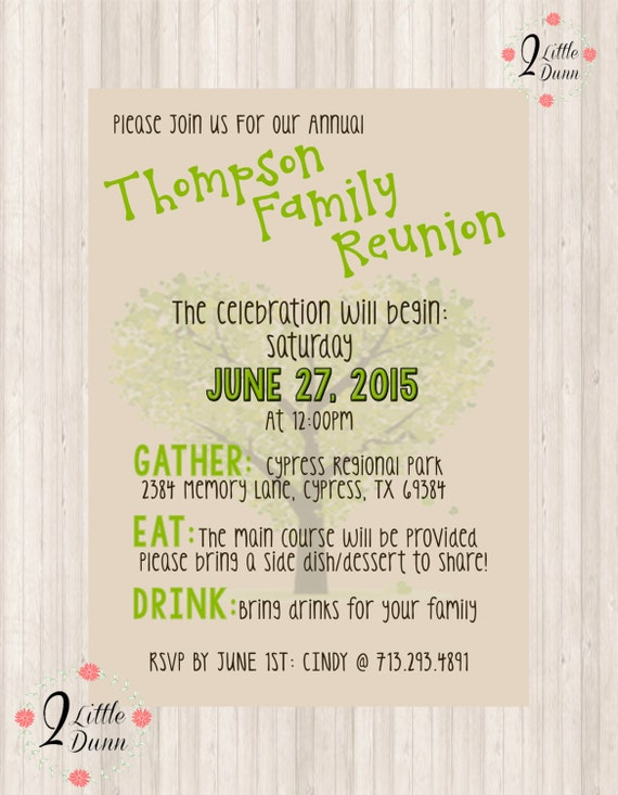 Family Reunion Invite Printable Digital Invitation