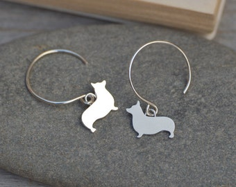 Corgi Earrings In Sterling Silver, Sausage Dog Earrings, Doggy Earrings, Handmade In The UK