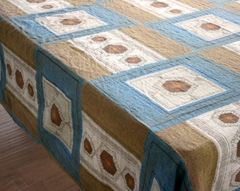 Vintage Barkcloth bed throw tablecloth fabric geometric 260 x 200 with seams Blue brown