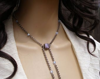 Front Clasping Periwinkle Lariat Style Necklace