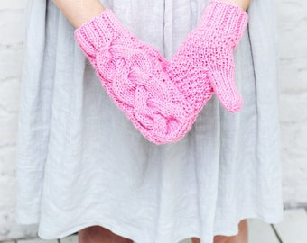 Pink knitted mittens Winter pink gloves Stylish womens mittens Pink hand warmers Winter womens accessory Pink handmade mittens Chunky gloves