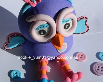 1 edible 3D HOOTABELLE from GIGGLE & Hoot owl cake decoration topper gumpaste sugarcraft birthday wedding anniversary kids character