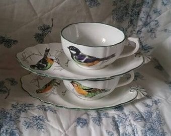 Vintage Gien Breakfast Sets, French Collectible Birds Cups and Saucers, Breakfast for Two