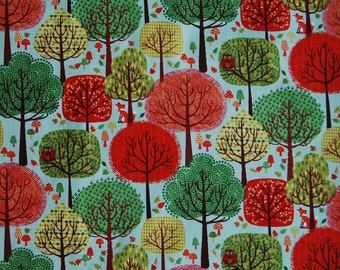 FOREST FRIENDS fabric cotton patchwork forest green and red x 40 cm