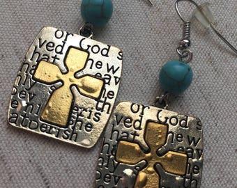 Silver Cross Earrings- Bible Verse Earrings- Bible Verse Jewelry- Bible Verse Accessories- Cross Earrings- Cross Jewelry- Crosses