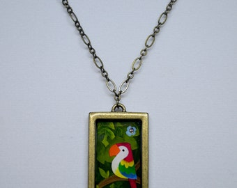 Handmade Macaw Parrot Pendant Necklace, Brushed Gold Pendant, Paper Cutout Jewelry, Resin Pendant Art Necklace