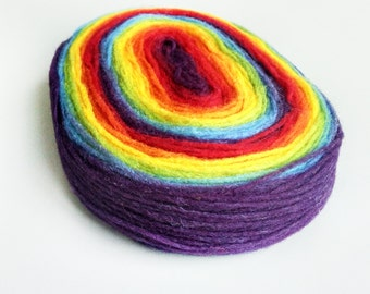 KAUNI Self Striping Rainbow Pencil Roving, Spinning or Felting Fiber