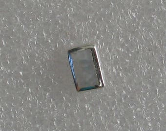 9mm  Mother of Pearl Rectangle Vintage Sterling SINGLE  Post Earring