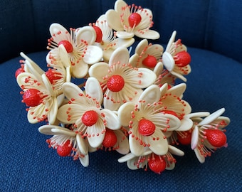 Adorable Bouquet Vintage Plastic Red and White Flowers