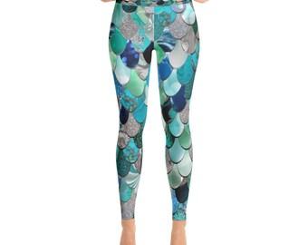Mermaid Tights, Mermaid Leggings, Mermaid, Leggings, Yoga Legging, Mermaid Pants, Yoga Pants,  XS, S, M, L, XL