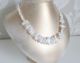Freshwater pearl necklace, with natural ivory white stick pearls. Real pearl jewellery. Classic freshwater pearls. Special gift for her.