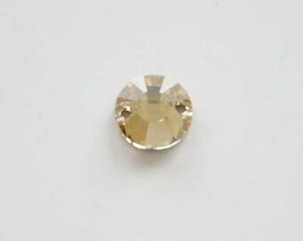 Drilled cabochon swarovski crystal 10mm golden shadow (champagne)