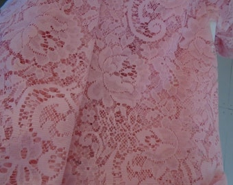 Stunning Pink Lace Swag Curtain With Fringe Hand Dyed Pale Shabby Chic Cottage Bohemian